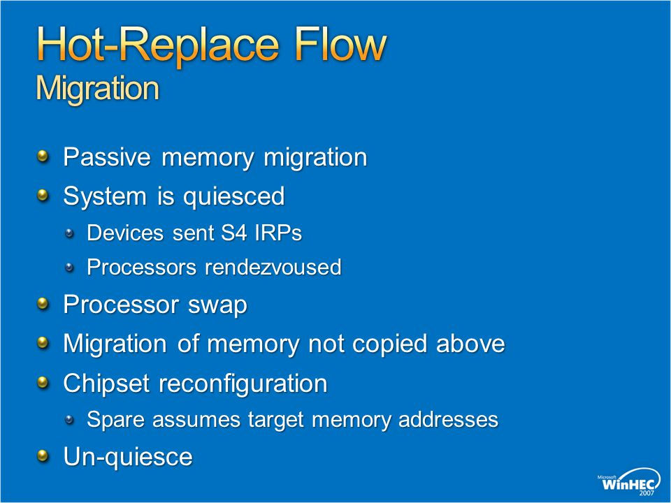 Passive memory migration System is quiesced Devices sent S4 IRPs Processors rendezvoused Processor swap Migration of memory not copied above Chipset r