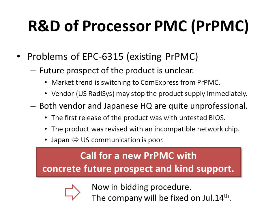 R&D of Processor PMC (PrPMC) Problems of EPC-6315 (existing PrPMC) – Future prospect of the product is unclear.