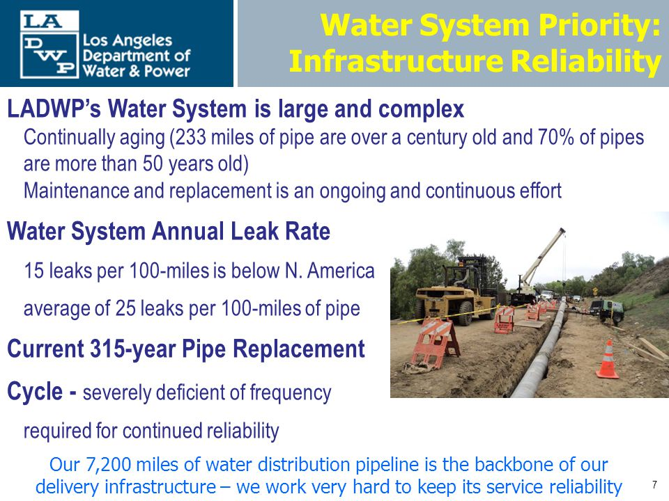 8 Water System Priority: Infrastructure Reliability Water Main Replacement Program