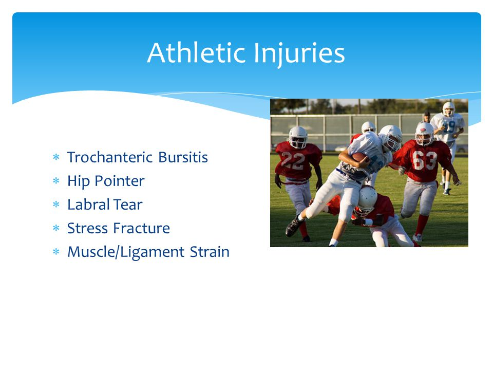 Athletic Injuries Trochanteric Bursitis Hip Pointer Labral Tear Stress Fracture Muscle/Ligament Strain