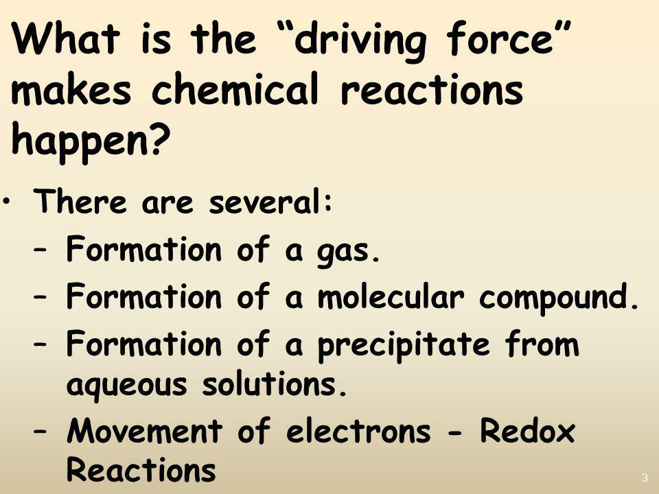 3 What is the driving force makes chemical reactions happen.