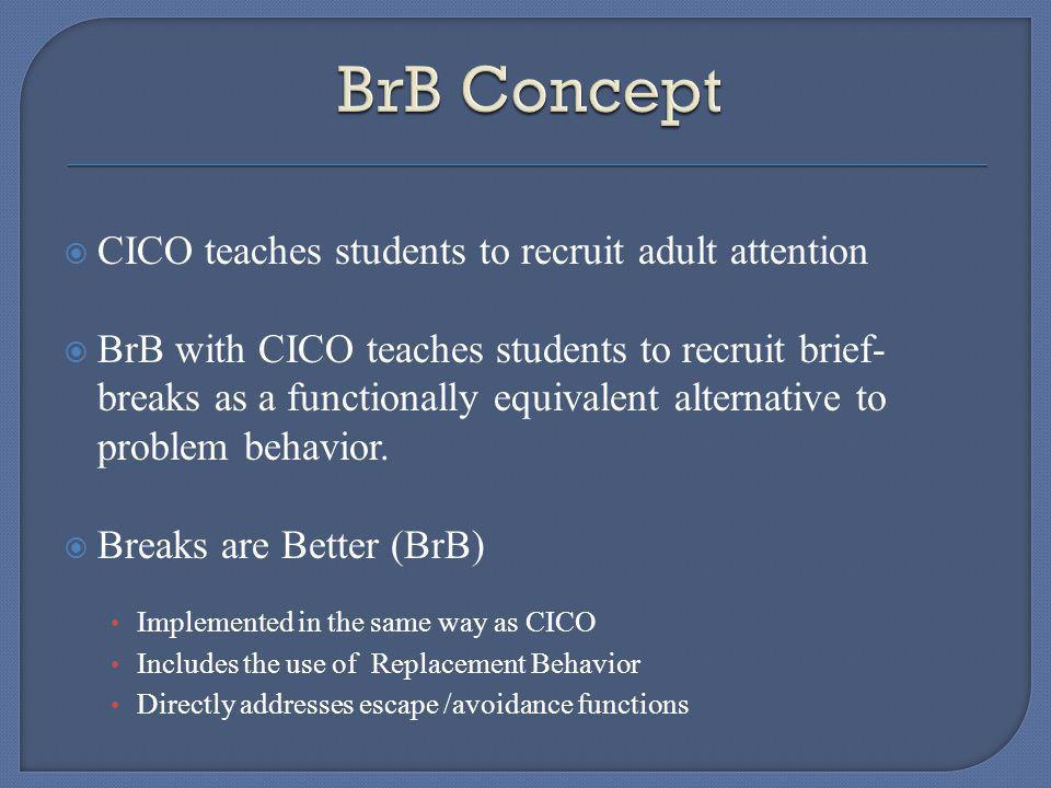 CICO teaches students to recruit adult attention BrB with CICO teaches students to recruit brief- breaks as a functionally equivalent alternative to problem behavior.