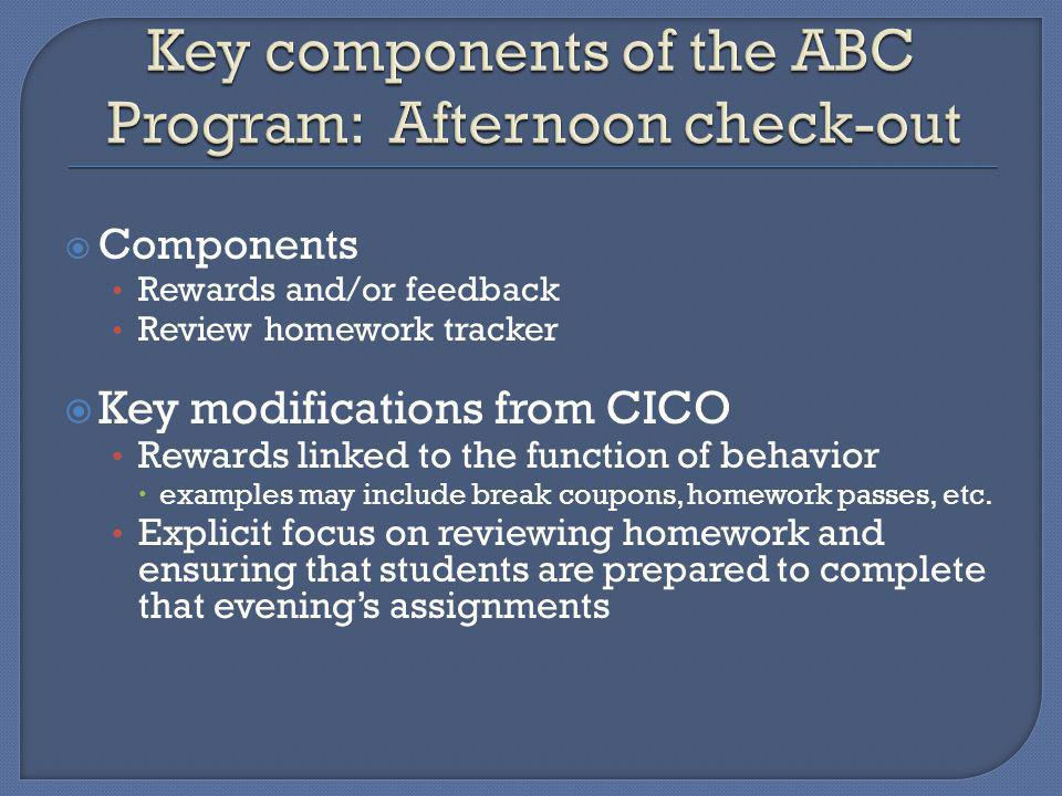 Components Rewards and/or feedback Review homework tracker Key modifications from CICO Rewards linked to the function of behavior examples may include break coupons, homework passes, etc.
