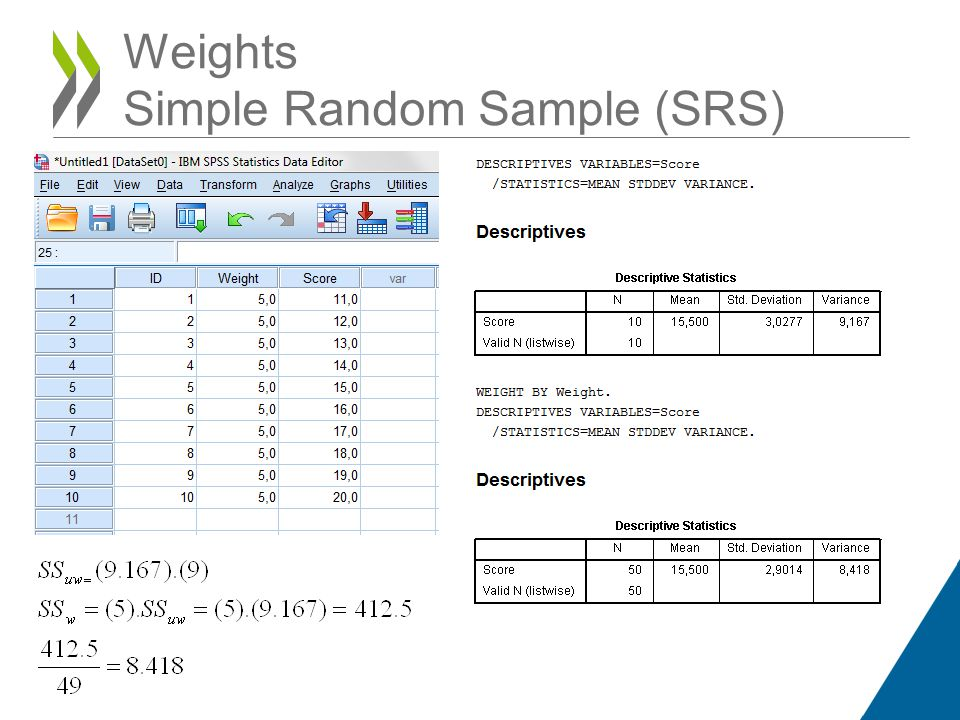 Weights Simple Random Sample (SRS)