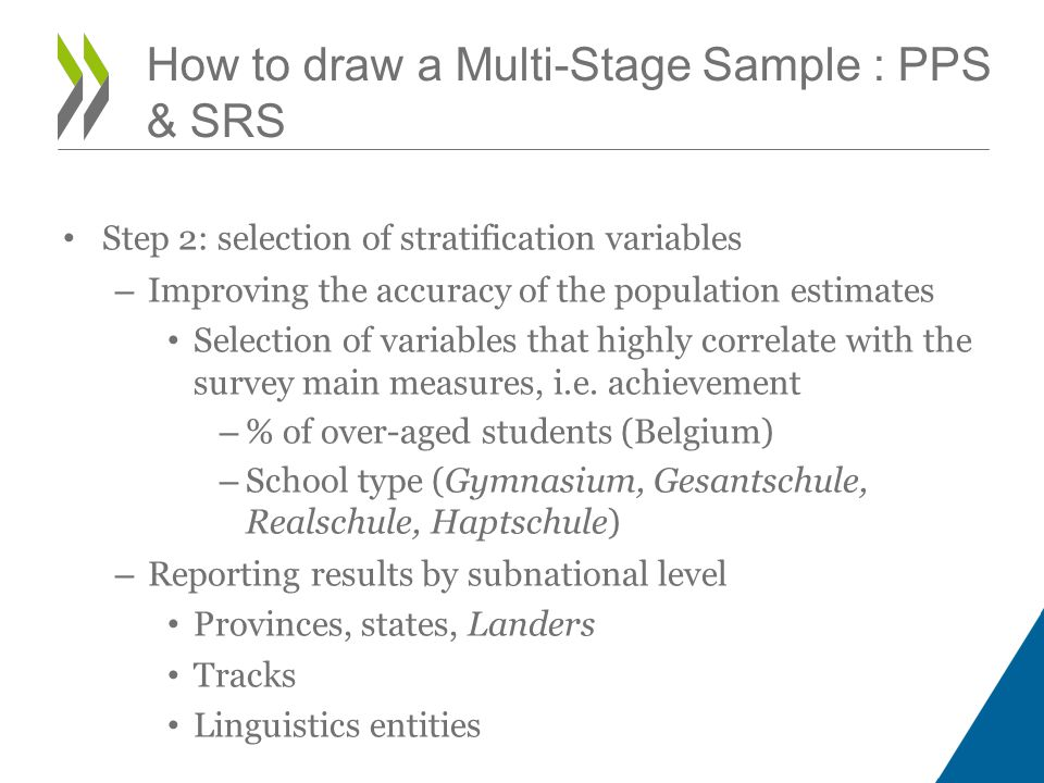 Step 2: selection of stratification variables – Improving the accuracy of the population estimates Selection of variables that highly correlate with the survey main measures, i.e.