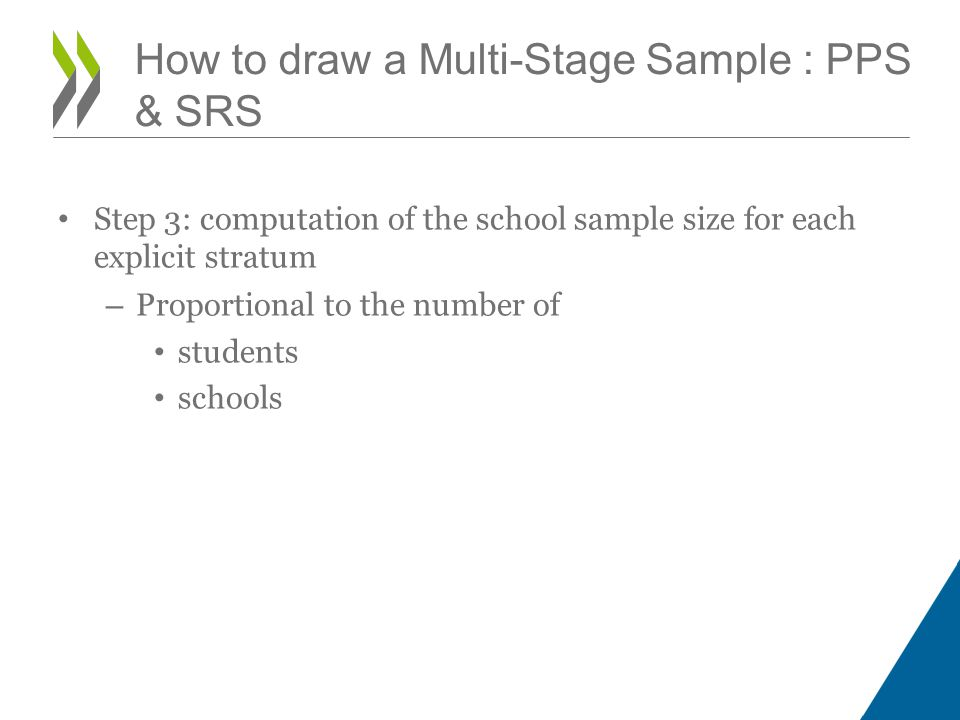 Step 3: computation of the school sample size for each explicit stratum – Proportional to the number of students schools How to draw a Multi-Stage Sample : PPS & SRS