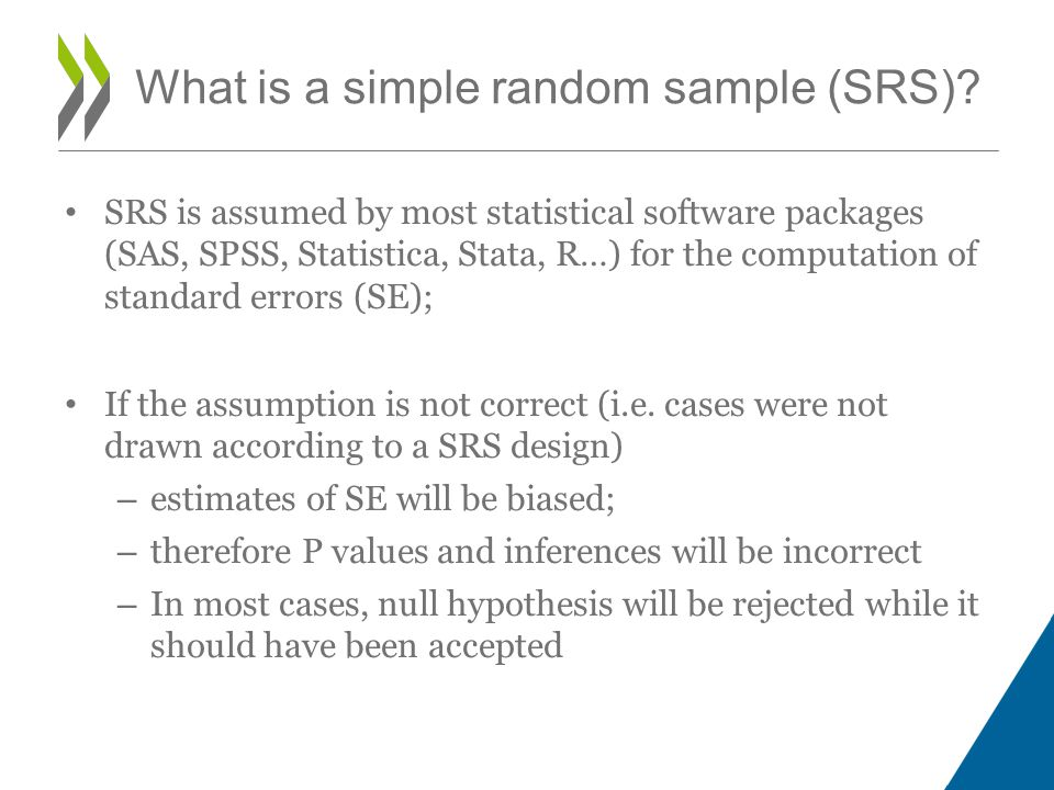 SRS is assumed by most statistical software packages (SAS, SPSS, Statistica, Stata, R…) for the computation of standard errors (SE); If the assumption is not correct (i.e.