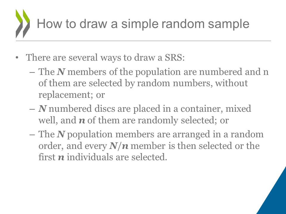 There are several ways to draw a SRS: – The N members of the population are numbered and n of them are selected by random numbers, without replacement; or – N numbered discs are placed in a container, mixed well, and n of them are randomly selected; or – The N population members are arranged in a random order, and every N/n member is then selected or the first n individuals are selected.