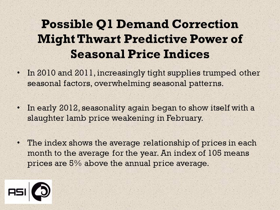 Possible Q1 Demand Correction Might Thwart Predictive Power of Seasonal Price Indices In 2010 and 2011, increasingly tight supplies trumped other seasonal factors, overwhelming seasonal patterns.