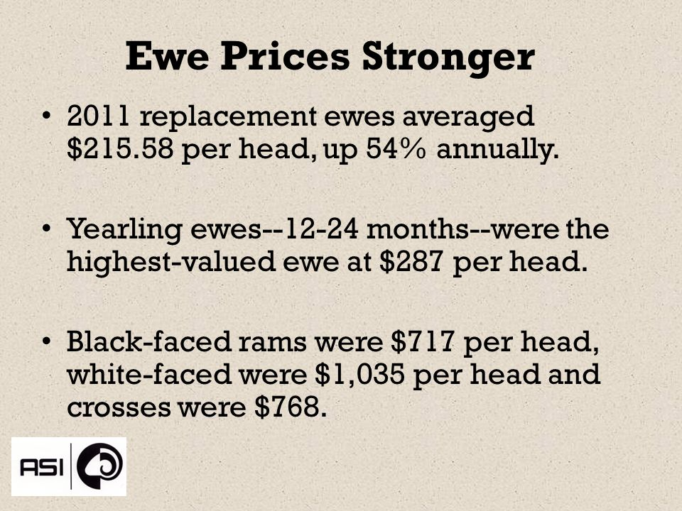 Ewe Prices Stronger 2011 replacement ewes averaged $ per head, up 54% annually.