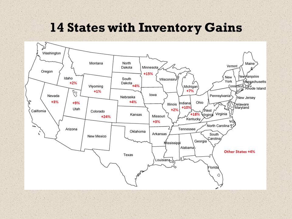 14 States with Inventory Gains