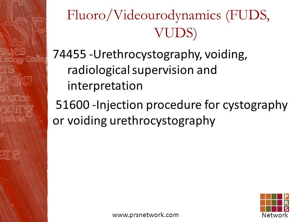 Network www.prsnetwork.com Fluoro/Videourodynamics (FUDS, VUDS) 74455 -Urethrocystography, voiding, radiological supervision and interpretation 51600