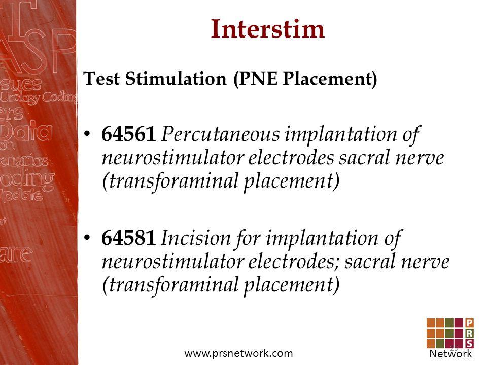Network www.prsnetwork.com Interstim Test Stimulation (PNE Placement) 64561 Percutaneous implantation of neurostimulator electrodes sacral nerve (tran