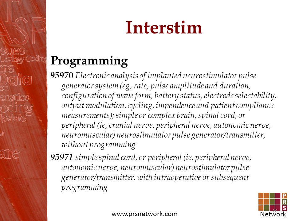 Network www.prsnetwork.com Interstim Programming 95970 Electronic analysis of implanted neurostimulator pulse generator system (eg, rate, pulse amplit
