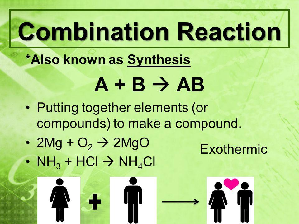 Decomposition Reaction AB A + B One substance produces 2 or more simpler substances.