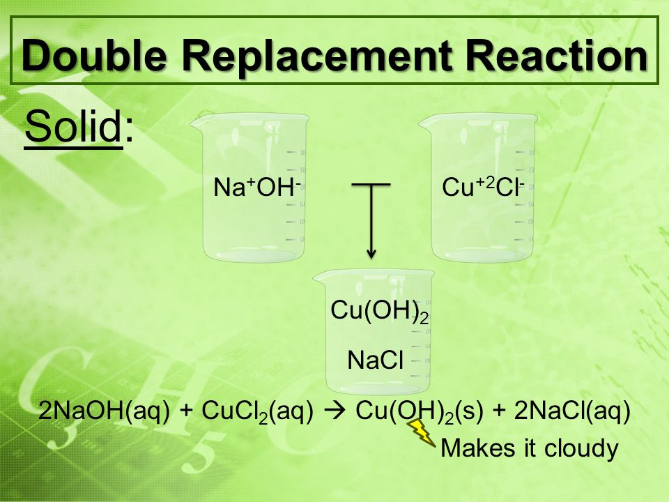 Double Replacement Reaction Liquid: Neutralization Acid Base Reaction The H + ion in the acid reacts with the OH - ion in the base to form water and an ionic salt Acid + Base Salt + Water HCl(aq) + NaOH(aq) NaCl(aq) + H 2 O