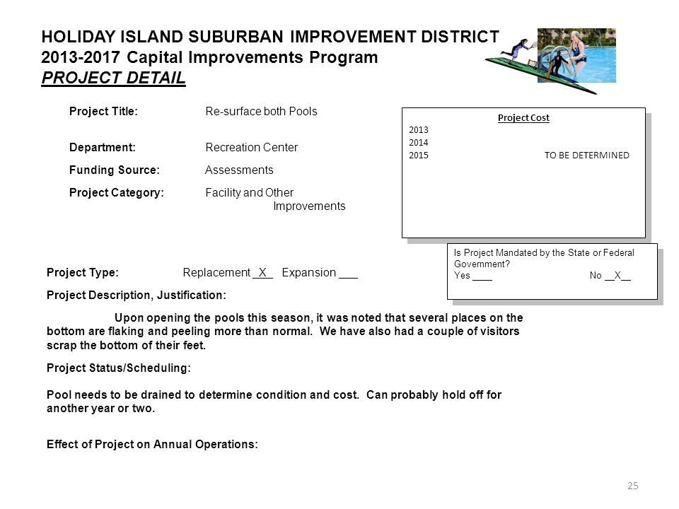 25 HOLIDAY ISLAND SUBURBAN IMPROVEMENT DISTRICT 2013-2017 Capital Improvements Program PROJECT DETAIL Project Cost 2013 2014 2015TO BE DETERMINED Project Cost 2013 2014 2015TO BE DETERMINED Is Project Mandated by the State or Federal Government.
