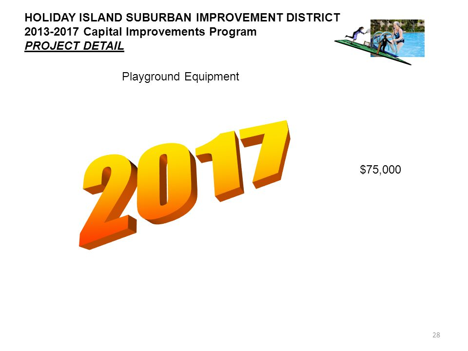 28 HOLIDAY ISLAND SUBURBAN IMPROVEMENT DISTRICT 2013-2017 Capital Improvements Program PROJECT DETAIL Playground Equipment $75,000