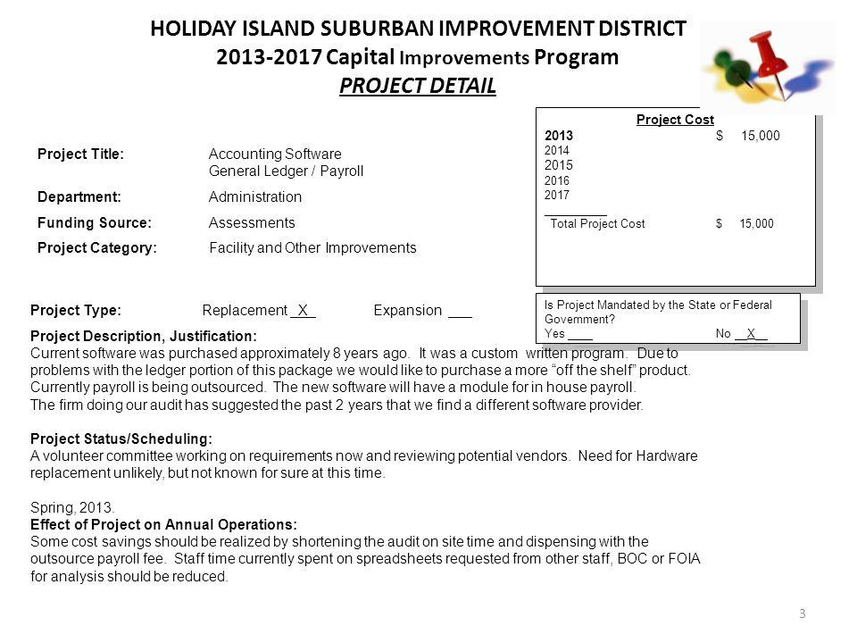 14 Holiday Island Suburban Improvement District 2013-2017 Capital Improvements Program Comprehensive Detail Schedule Revenue Fund Projects DepartmentProject20132014201520162017 Roads Road Paving300,000315,000330,750347,288364,652 Facilities MaintWalking Trail Parking Lot22,500 Handicap Fish Pier Parking Lot23,100 District Office Overflow Parking13,200 Barn Parking Lot 54,450 322,500338,100343,950401,738364,652
