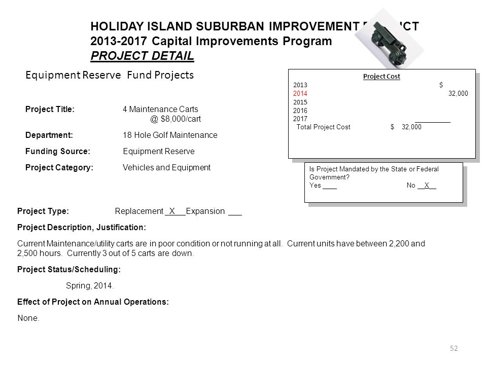 52 HOLIDAY ISLAND SUBURBAN IMPROVEMENT DISTRICT Capital Improvements Program PROJECT DETAIL Equipment Reserve Fund Projects Project Cost 2013$ , __________ Total Project Cost$ 32,000 Project Cost 2013$ , __________ Total Project Cost$ 32,000 Is Project Mandated by the State or Federal Government.