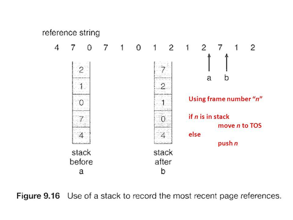 Using frame number n if n is in stack move n to TOS else push n
