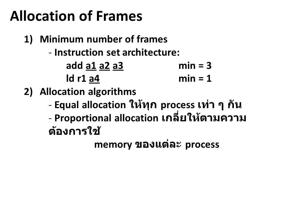 Allocation of Frames 1)Minimum number of frames - Instruction set architecture: add a1 a2 a3min = 3 ld r1 a4min = 1 2)Allocation algorithms - Equal al