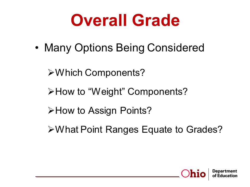 Overall Grade Many Options Being Considered Which Components.
