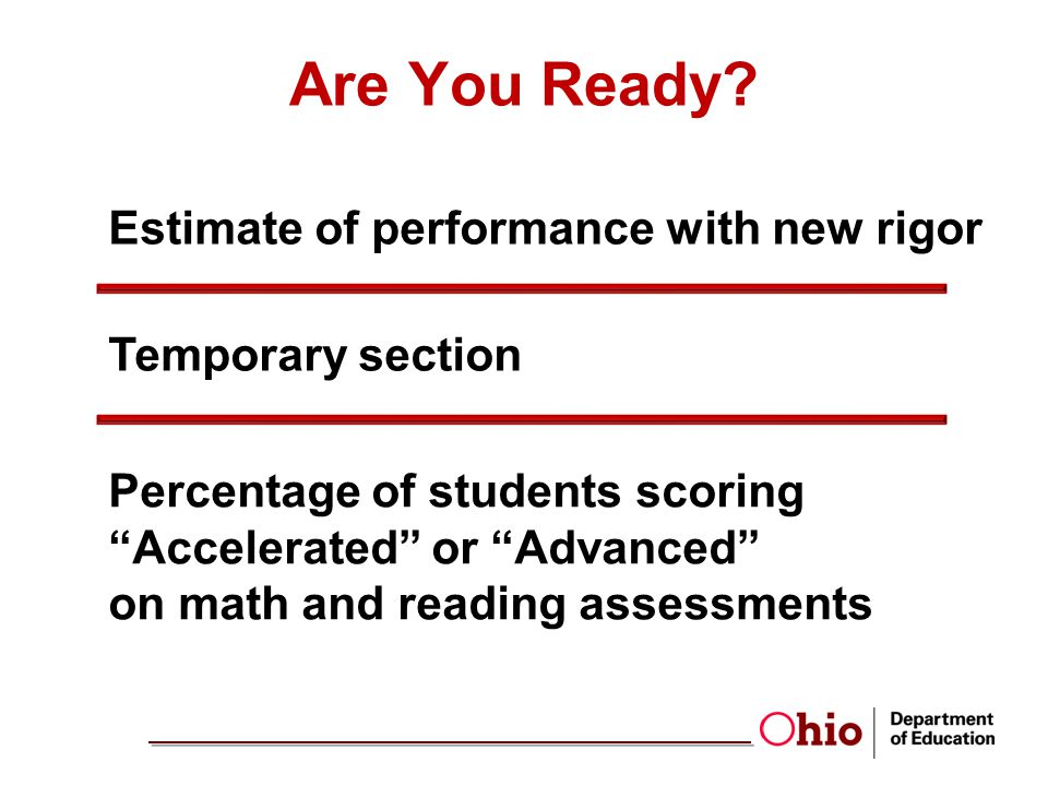 Temporary section Percentage of students scoring Accelerated or Advanced on math and reading assessments Estimate of performance with new rigor