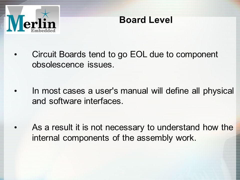 Board Level Circuit Boards tend to go EOL due to component obsolescence issues. In most cases a user's manual will define all physical and software in