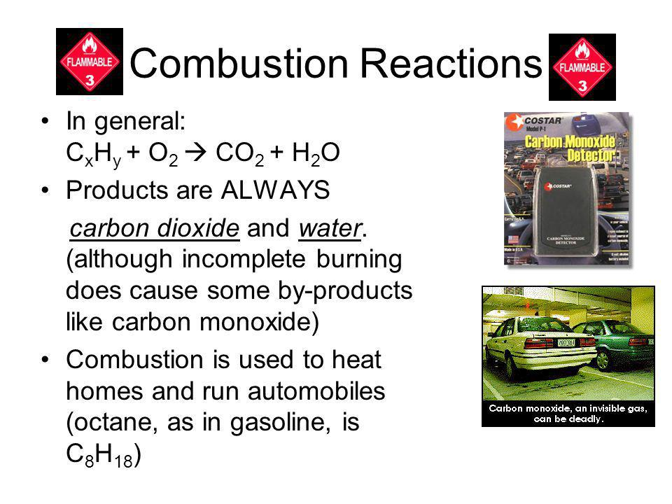 Combustion Reactions In general: C x H y + O 2 CO 2 + H 2 O Products are ALWAYS carbon dioxide and water. (although incomplete burning does cause some