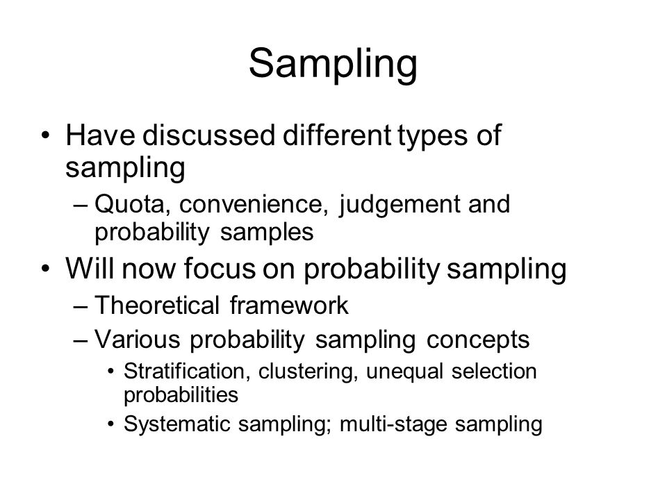 Random Groups Variance estimates given by No special software needed Works for quantiles and non-parametric statistics But can be difficult to set up the random groups, and the sample design may restrict how many can be formed