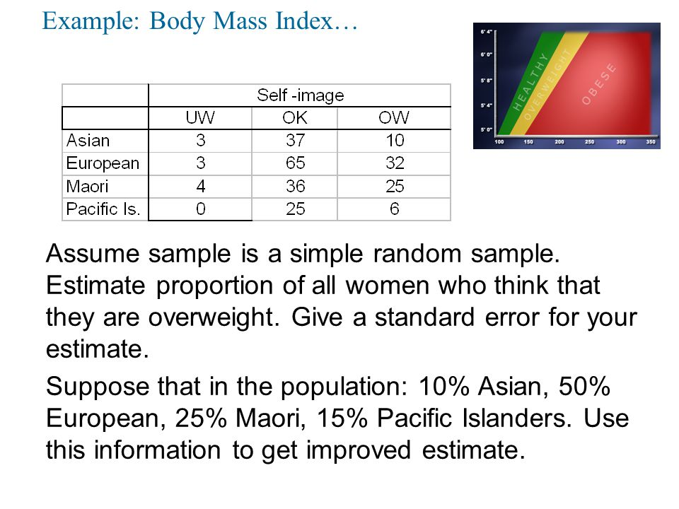 Weighting and Imputation Weighting –Attaches a weight to each observation –Used to calculate weighted means, percentages –Often required to reflect sample design Un-weighted results would be biased –Also helps compensate for unit non-response Unit non-response is when data is not obtained for some units, although they were selected as part of our sample Weights are adjusted to align survey results with known population figures –Covered in more detail later