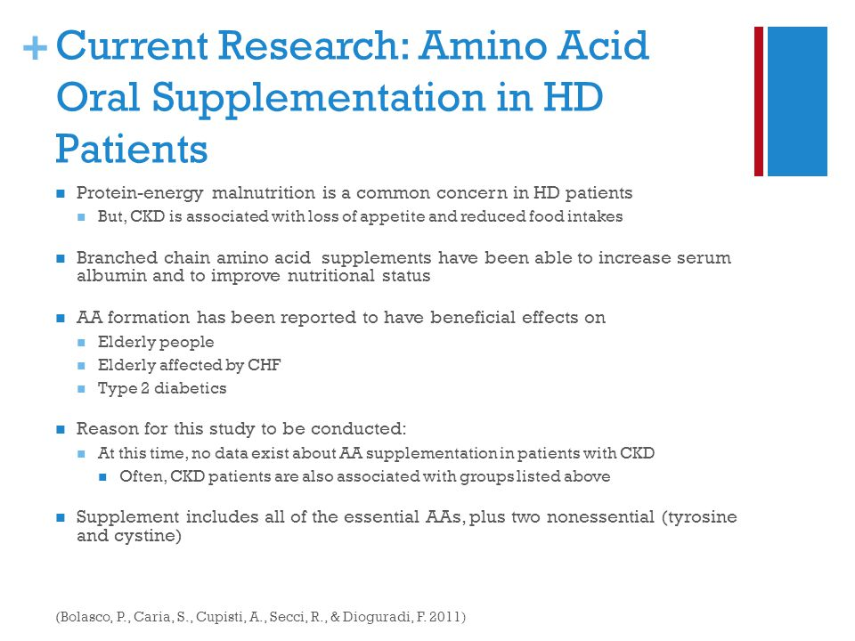 + Current Research: Amino Acid Oral Supplementation in HD Patients Protein-energy malnutrition is a common concern in HD patients But, CKD is associated with loss of appetite and reduced food intakes Branched chain amino acid supplements have been able to increase serum albumin and to improve nutritional status AA formation has been reported to have beneficial effects on Elderly people Elderly affected by CHF Type 2 diabetics Reason for this study to be conducted: At this time, no data exist about AA supplementation in patients with CKD Often, CKD patients are also associated with groups listed above Supplement includes all of the essential AAs, plus two nonessential (tyrosine and cystine) (Bolasco, P., Caria, S., Cupisti, A., Secci, R., & Dioguradi, F.