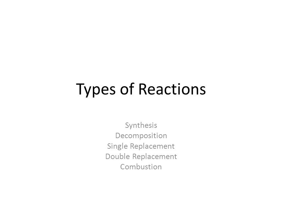 Types of Reactions Synthesis Decomposition Single Replacement Double Replacement Combustion