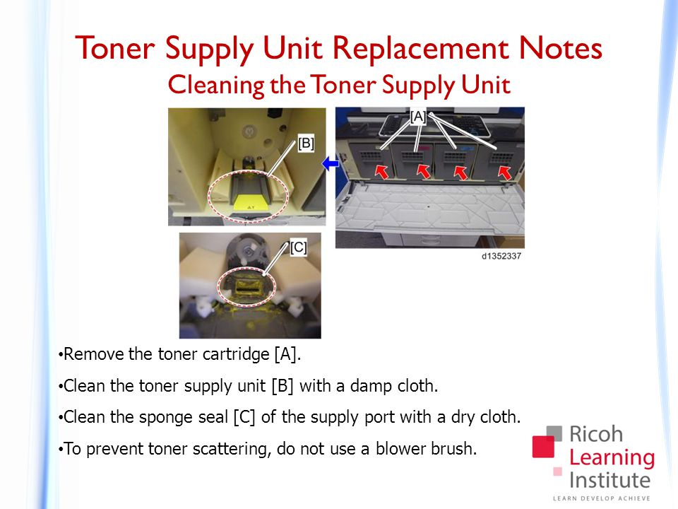Toner Supply Unit Replacement Notes Cleaning the Toner Supply Unit Remove the toner cartridge [A]. Clean the toner supply unit [B] with a damp cloth.