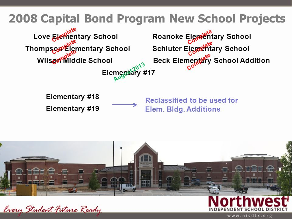 2008 Capital Bond Program New School Projects Love Elementary School Roanoke Elementary School Thompson Elementary School Schluter Elementary School W