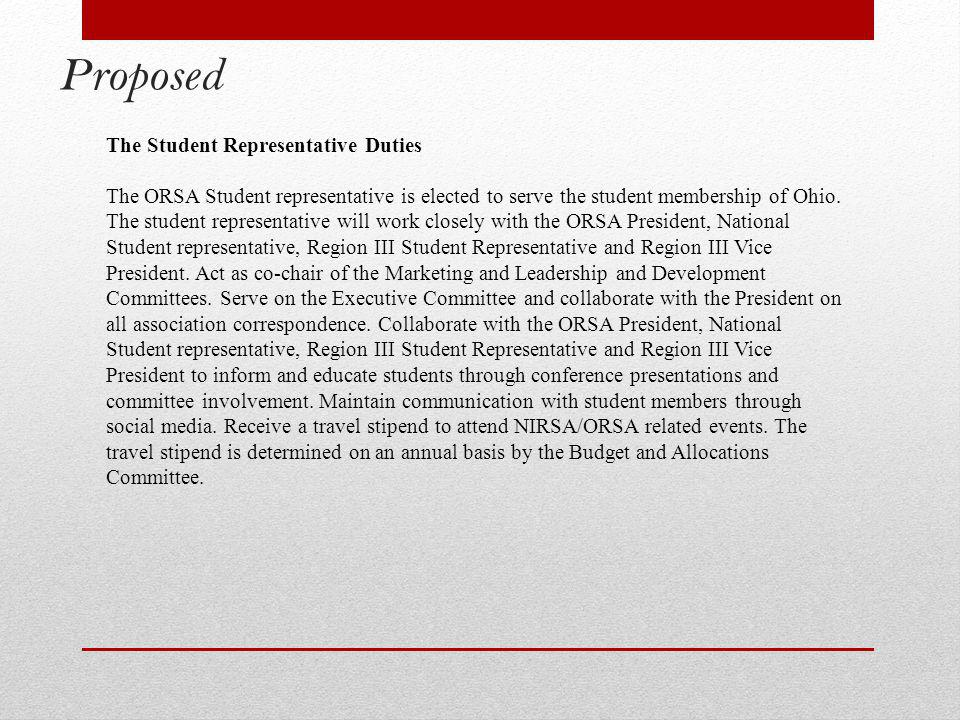 Proposed The Student Representative Duties The ORSA Student representative is elected to serve the student membership of Ohio.