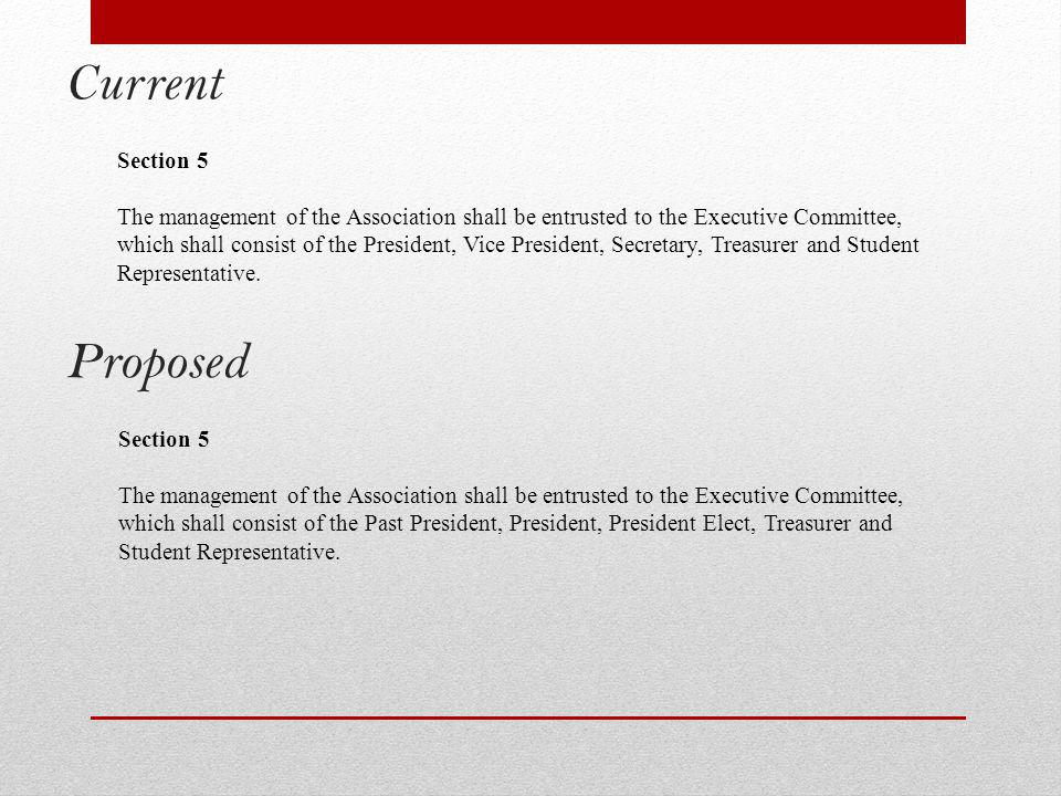 Current Section 5 The management of the Association shall be entrusted to the Executive Committee, which shall consist of the President, Vice President, Secretary, Treasurer and Student Representative.