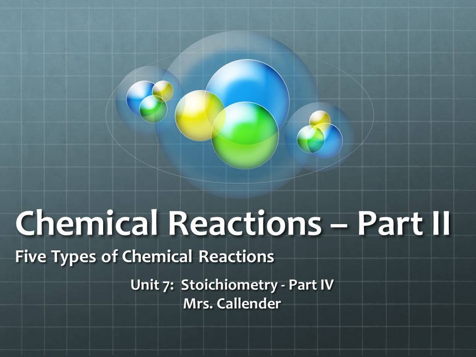 Chemical Reactions – Part II Five Types of Chemical Reactions Unit 7: Stoichiometry - Part IV Mrs. Callender