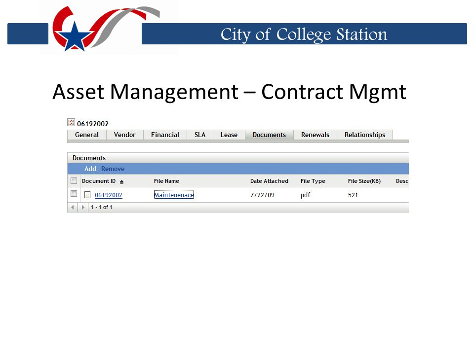 City of College Station Asset Management – Contract Mgmt