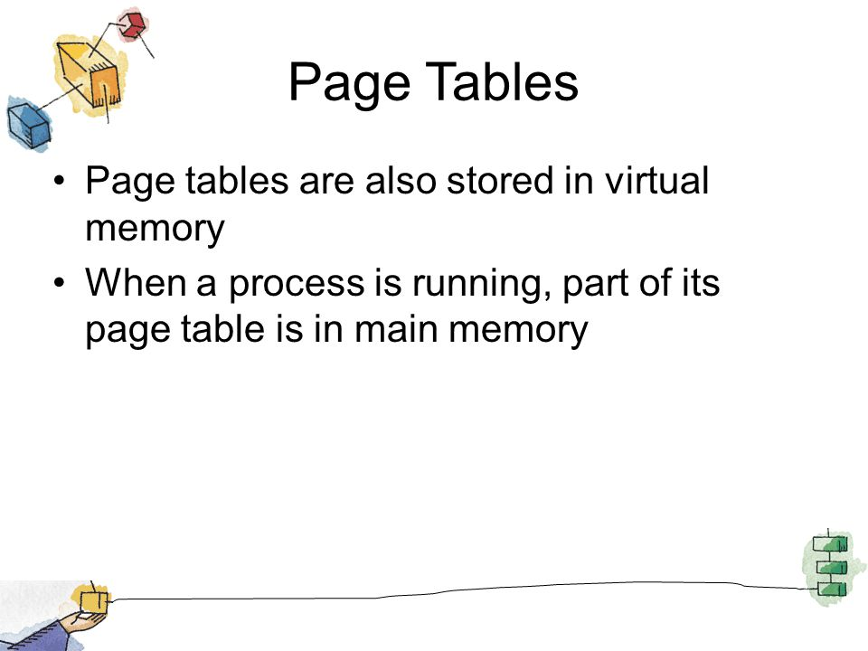 Page Tables Page tables are also stored in virtual memory When a process is running, part of its page table is in main memory