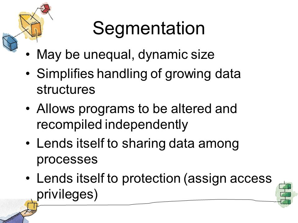 Segmentation May be unequal, dynamic size Simplifies handling of growing data structures Allows programs to be altered and recompiled independently Le