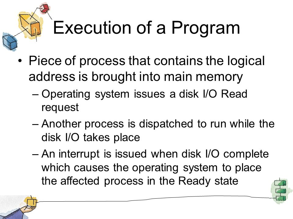 Execution of a Program Piece of process that contains the logical address is brought into main memory –Operating system issues a disk I/O Read request