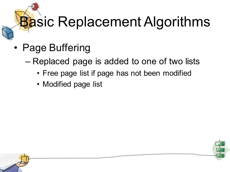 Basic Replacement Algorithms Page Buffering –Replaced page is added to one of two lists Free page list if page has not been modified Modified page lis