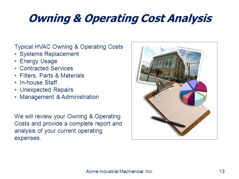 Acme Industrial Mechanical, Inc.13 Owning & Operating Cost Analysis Typical HVAC Owning & Operating Costs Systems Replacement Energy Usage Contracted