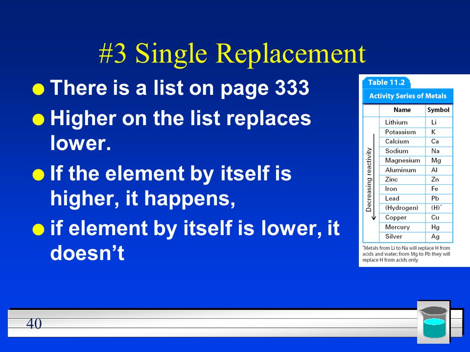 40 #3 Single Replacement l There is a list on page 333 l Higher on the list replaces lower. l If the element by itself is higher, it happens, l if ele