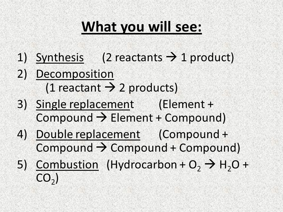 What you will see: 1)Synthesis(2 reactants 1 product) 2)Decomposition (1 reactant 2 products) 3)Single replacement(Element + Compound Element + Compou