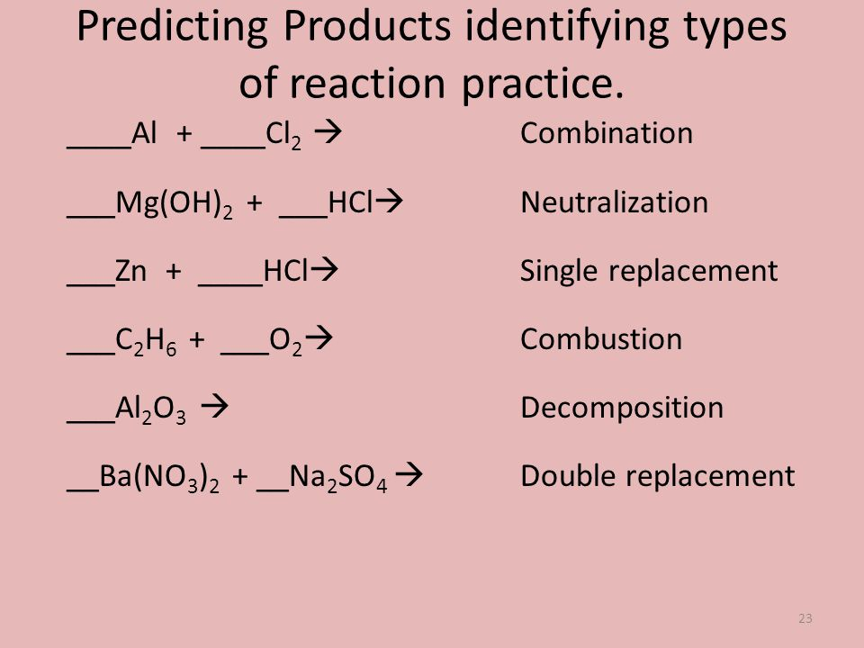 Predicting Products identifying types of reaction practice. ____Al + ____Cl 2 ___Mg(OH) 2 + ___HCl ___Zn + ____HCl ___C 2 H 6 + ___O 2 ___Al 2 O 3 __B