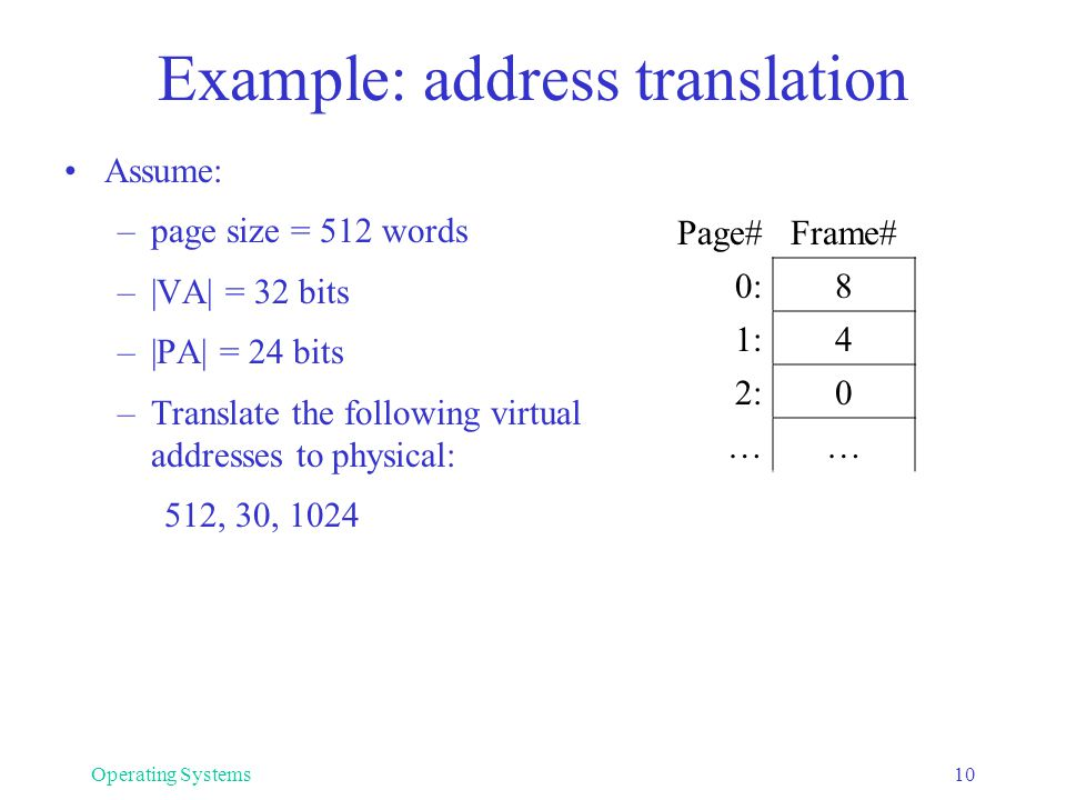 Example: address translation Assume: –page size = 512 words –|VA| = 32 bits –|PA| = 24 bits –Translate the following virtual addresses to physical: 51