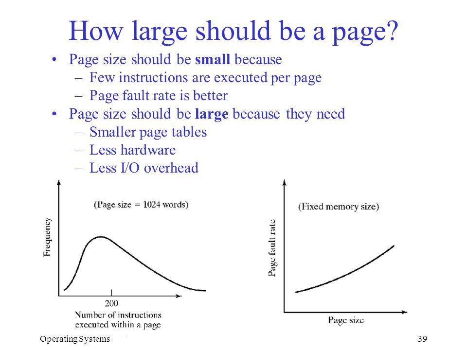 Operating Systems39 How large should be a page? Page size should be small because –Few instructions are executed per page –Page fault rate is better P